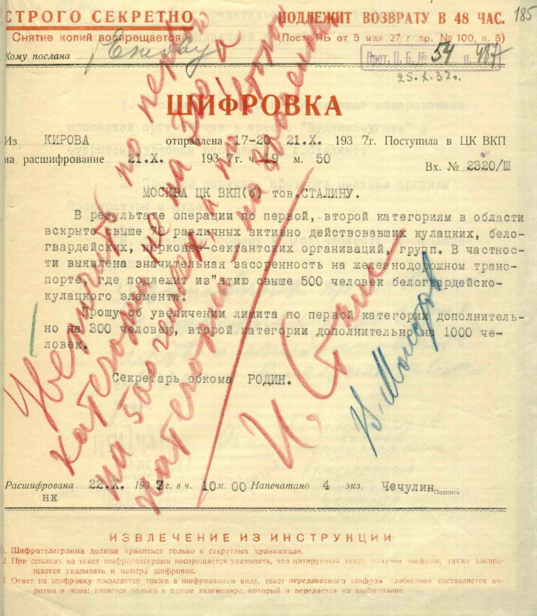 Stalin visa on repressions list